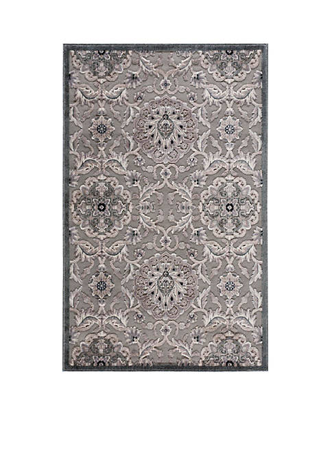 "Graphic Illusions Floral Grey Area Rug 56"" x"