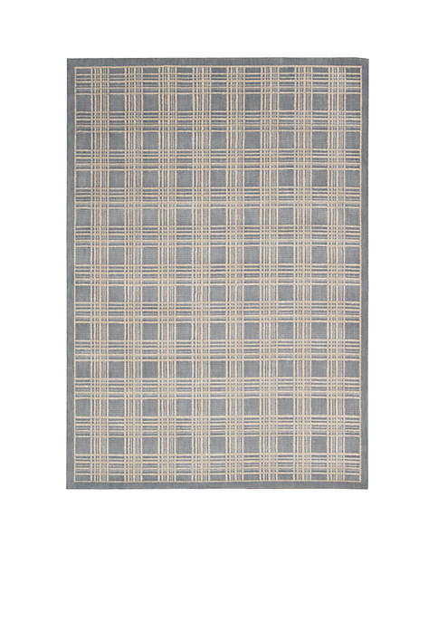 Hollywood Shim Mission Craft Blue Area Rug 75""