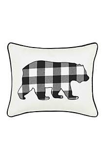 Cabin Plaid Bear Throw Pillow