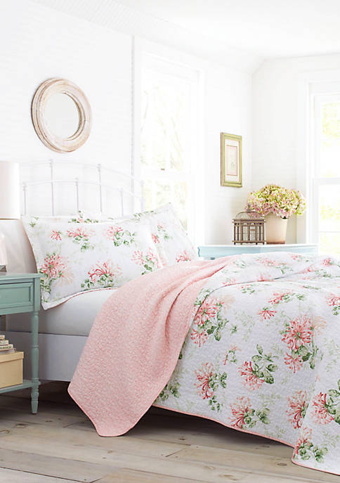 Laura Ashley Honeysuckle Cotton Quilt Set