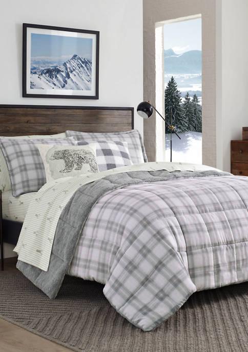 Eddie Bauer Sherwood Plaid Micro Suede Sherpa Comforter