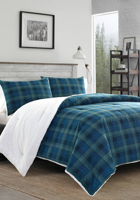 Eddie Bauer Monroe Plaid Flannel Sherpa Comforter Sham