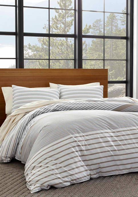 Eddie Bauer Cooper Stripe Cotton Duvet Cover Set