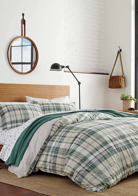 Eddie Bauer Timbers Plaid Cotton Duvet Cover Set