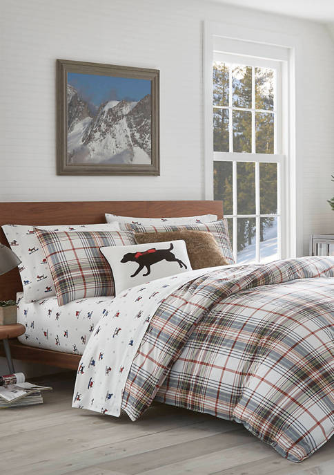 Eddie Bauer Classic Plaid Red Duvet Cover Set