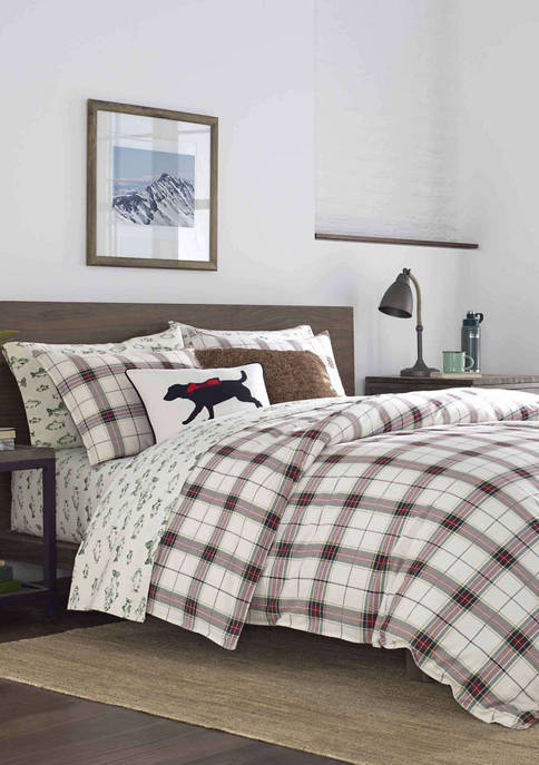 Eddie Bauer Riverdale Plaid Red Duvet Cover Set