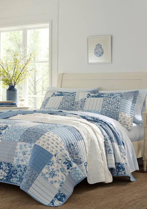 Laura Ashley Paisley Patchwork Cotton Quilt Sham Set