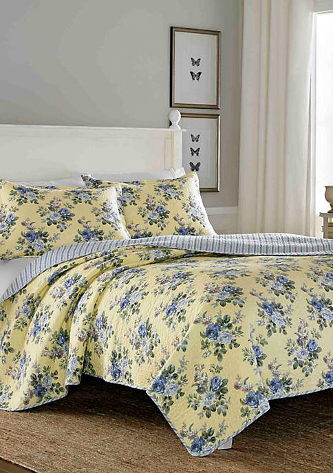 Laura Ashley Linley Yellow Quilt Set, King