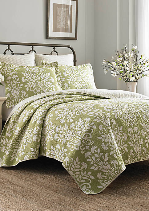 Laura Ashley Rowland Green Quilt Set, Full/Queen
