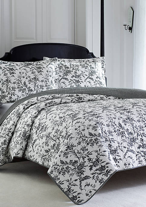 Laura Ashley Full/Queen Amberley Black/White Quilt Set