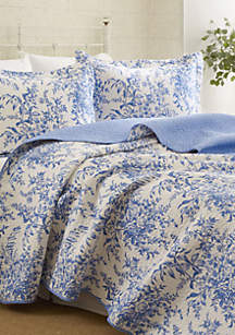 King Bedford Blue Quilt Set