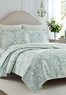 Laura Ashley Twin Rowland Breeze Blue Quilt Set