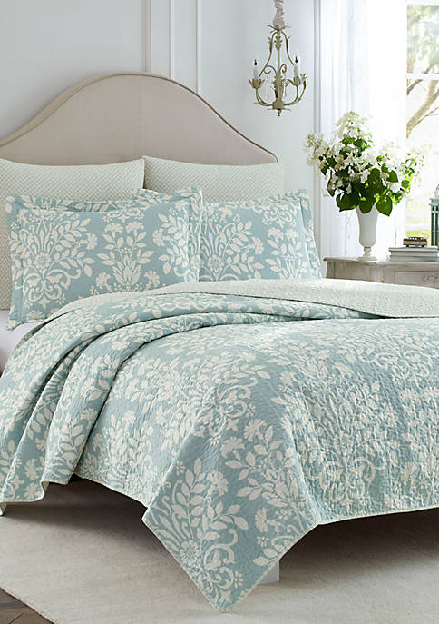 Laura Ashley Full/Queen Rowland Breeze Blue Quilt Set