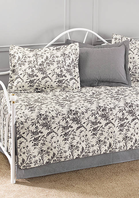 Laura Ashley Amberley Black/White 5-Piece Daybed Set 39-in.