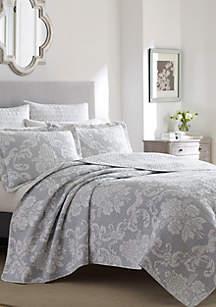 Full/Queen Venetia Grey Quilt Set