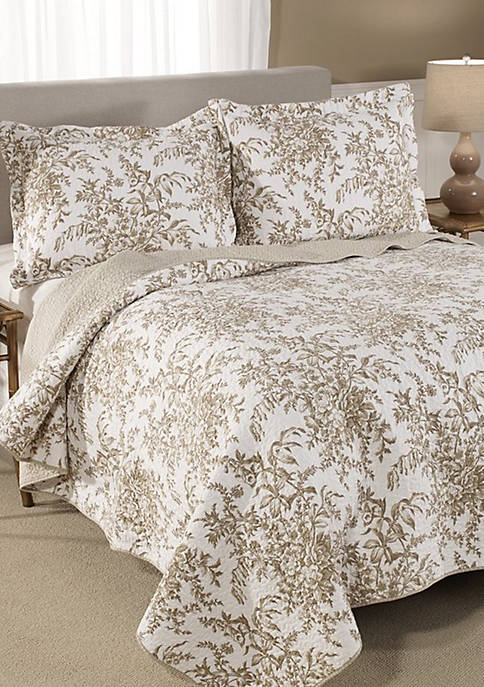 Laura Ashley Bedford Mocha Twin Quilt Set