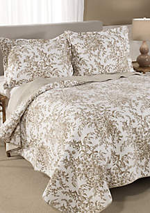 King Bedford Mocha Quilt Set