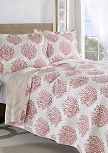 Laura Ashley Twin Coral Coast Coral Quilt Set