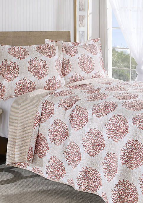 Laura Ashley King Coral Coast Coral Quilt Set