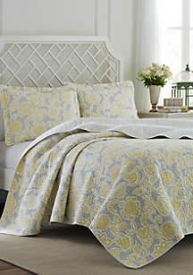 Full/Queen Joy Grey Lemon Quilt Set