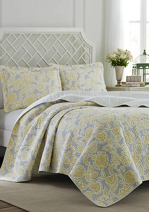 Laura Ashley King Joy Grey Lemon Quilt Set