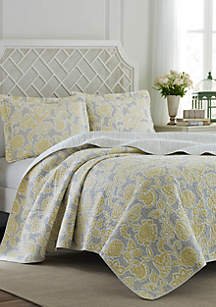 King Joy Grey Lemon Quilt Set