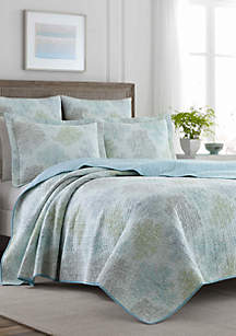 Laura Ashley Full/Queen Saltwater Multi Blue Quilt Set