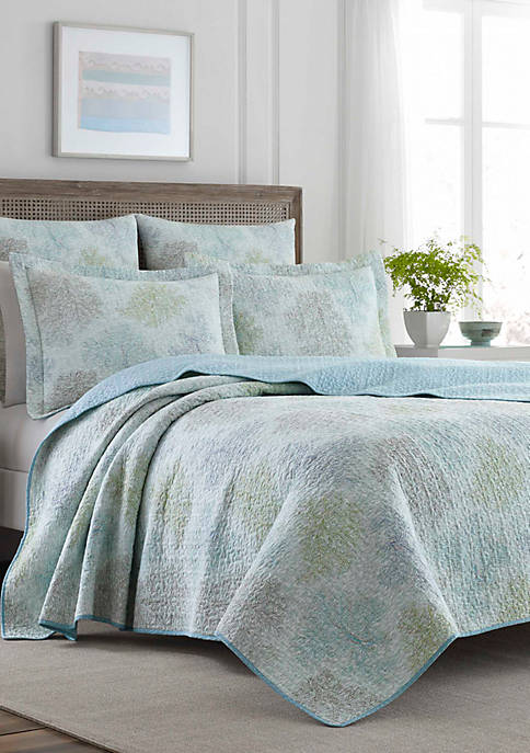 Laura Ashley King Saltwater Multi Blue Quilt Set