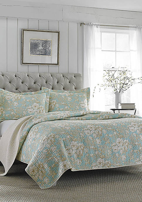 Laura Ashley Twin Brompton Serene Quilt Set