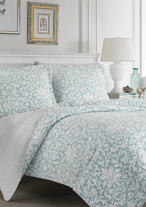 Laura Ashley Full/Queen Mia Soft Blue Quilt Set