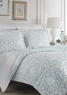 Full/Queen Mia Soft Blue Quilt Set