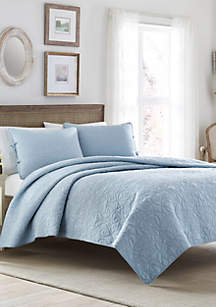 King Felicity Breeze Blue Quilt Set