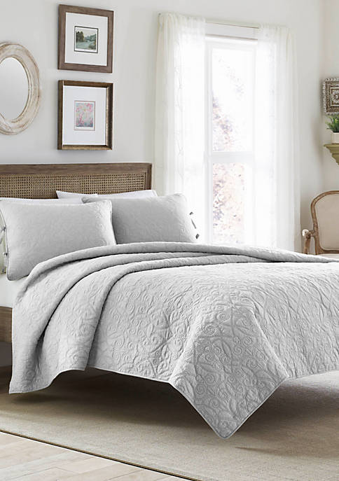 Laura Ashley Twin Felicity Pastel Grey Quilt Set