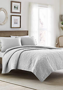 Full/Queen Felicity Pastel Grey Quilt Set