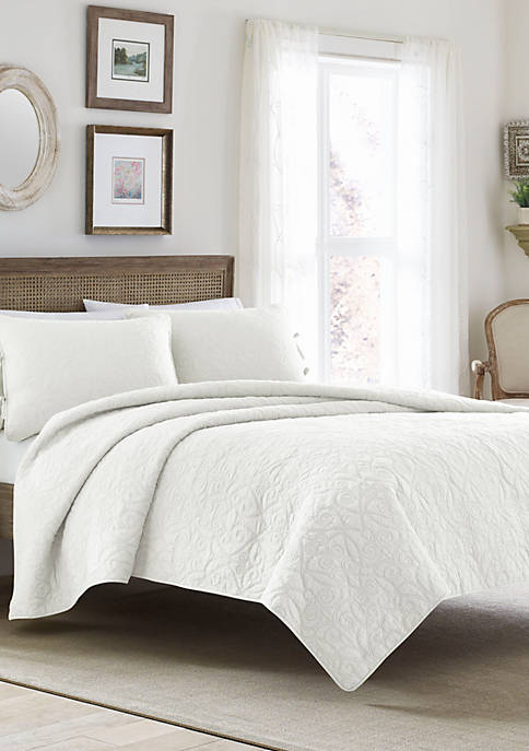 Laura Ashley King Felicity White Quilt Set
