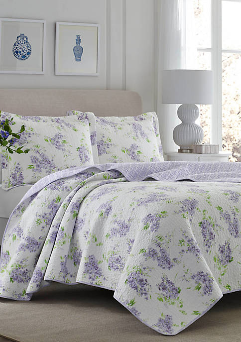 Laura Ashley Full/Queen Keighley Lt/Pastel Purple Quilt Set