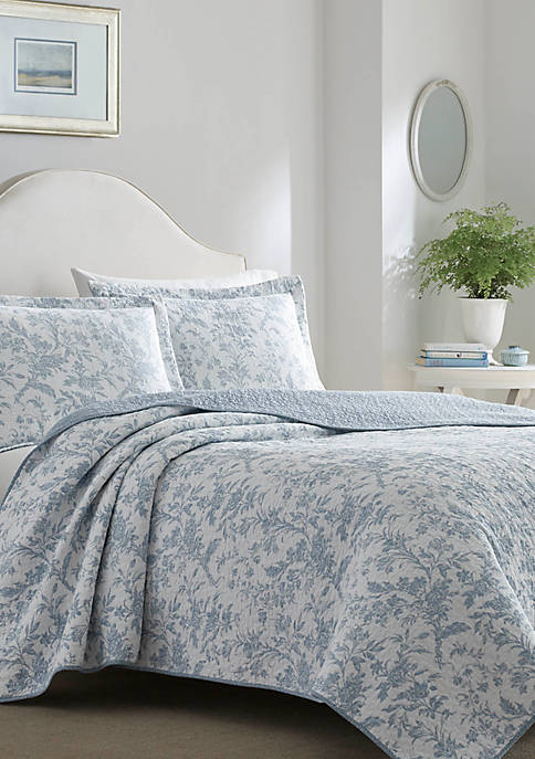 Laura Ashley Full/Queen Amberley Bright Blue Quilt Set