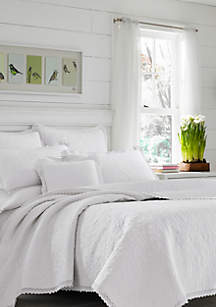 Twin Heirloom Crochet White Quilt Set
