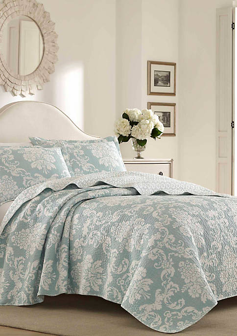 Laura Ashley Full/Queen Venetia Bright Blue Quilt Set