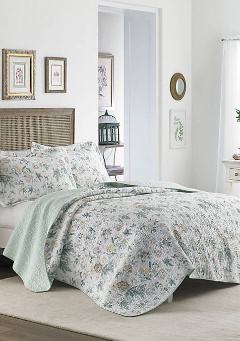 Laura Ashley Breezy Floral Gray Quilt Set