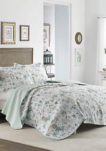Twin Breezy Floral Grey Quilt Set