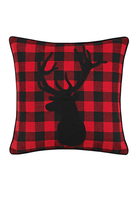 Cabin Plaid Stag Head Throw Pillow