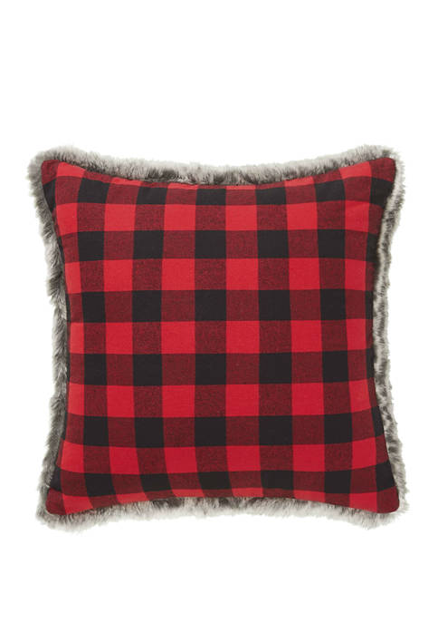 Eddie Bauer Cabin Plaid Fur Red Decorative Pillow