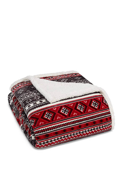 Eddie Bauer Classic Fair Isle Black Throw Blanket