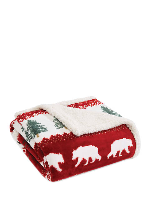 Eddie Bauer Grizzly Peak Red Throw Blanket