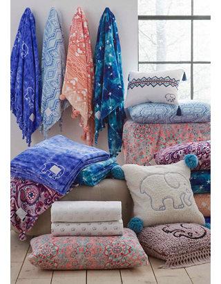 Ivory Ella Gia Fleece Throw Blanket Belk