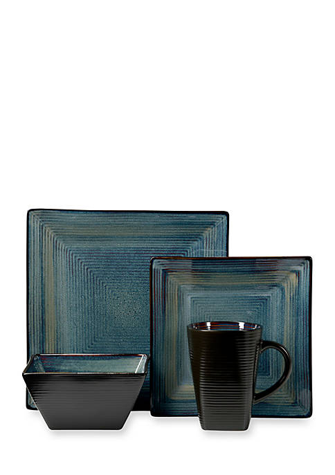 Oneida Adriatic Blue Square 16 Piece Dinnerware set
