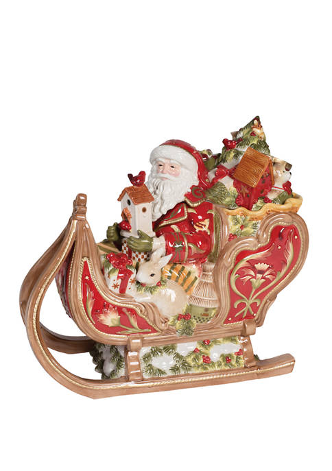 Fitz and Floyd Damask Holiday Sleigh Cookie Jar