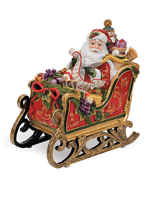 Fitz and Floyd Regal Holiday Santa Sleigh Musical