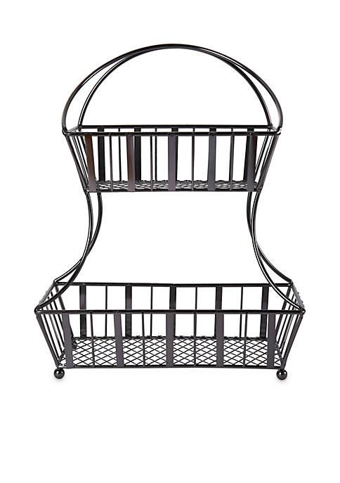 Mikasa Band Stripe 2-Tier Flatback Basket